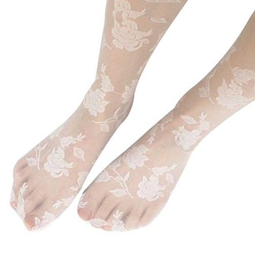 White Rose Pattern Sheer Pantyhose