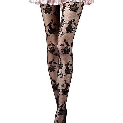 Black Rose Pattern Sheer Pantyhose
