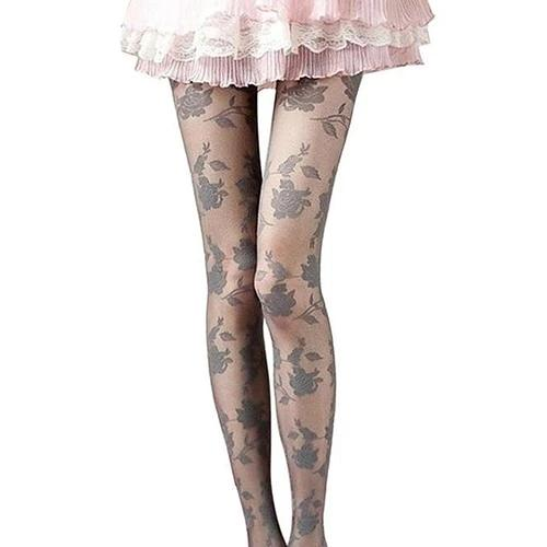 Grey Rose Pattern Sheer Pantyhose