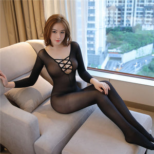 Criss Cross Sheer Mesh Bodystocking