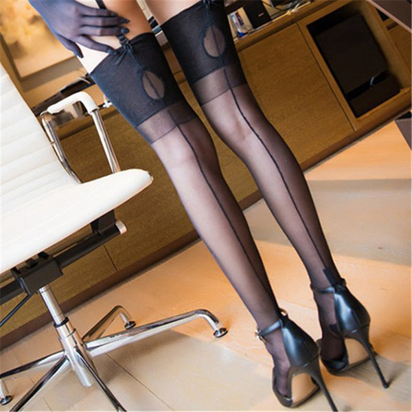 Black Romantic Back Seam Stockings