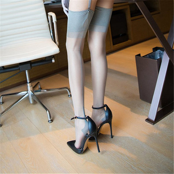 Gray Romantic Back Seam Stockings