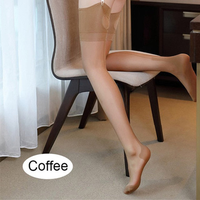 Coffee Romantic Back Seam Stockings