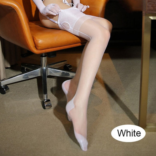 White Romantic Back Seam Stockings
