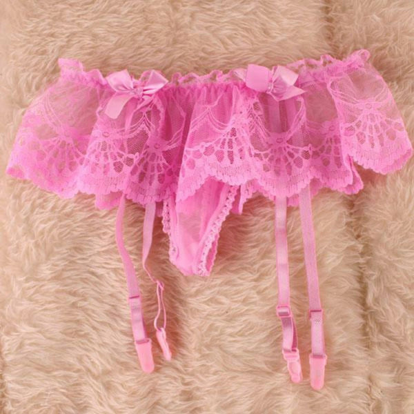 Pink Romantic Floral Lace Garter Belt