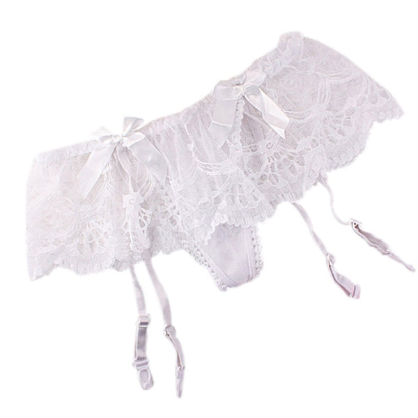 White Romantic Floral Lace Garter Belt