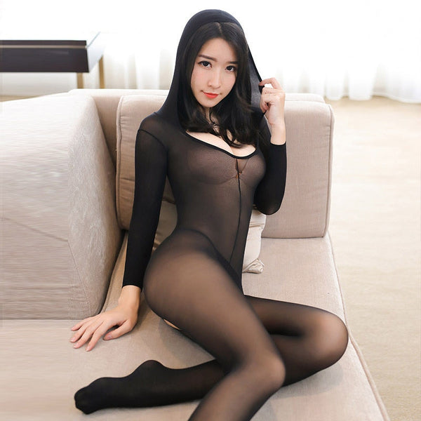 Hooded Sheer Mesh Bodystocking