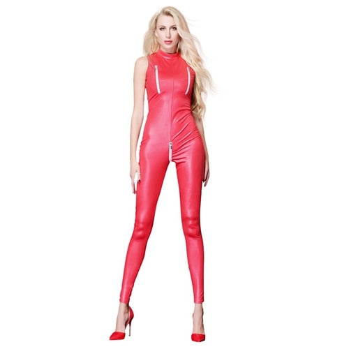 Red wet look bodysuit featuring a high neck, zip at crotch area, ankle length.