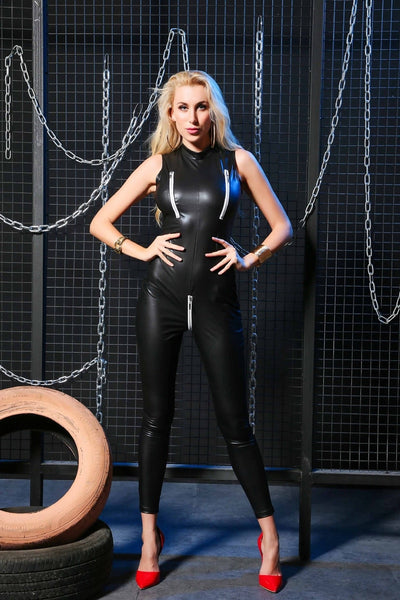 Black wet look bodysuit featuring a high neck, zip at crotch area, ankle length.