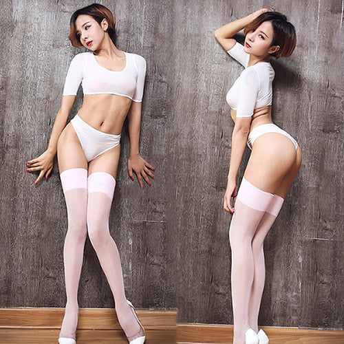 Pink Sheer Thigh High Oil Shine Stockings