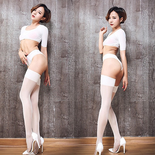 White Sheer Thigh High Oil Shine Stockings