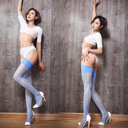 Blue Sheer Thigh High Oil Shine Stockings