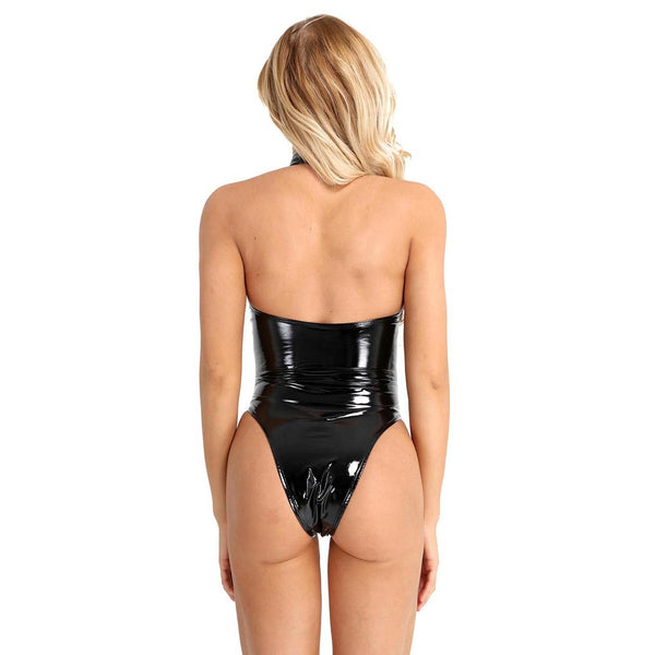 black bodysuit featuring a high neckline with halter ties, high cut sides and a thong cut back.
