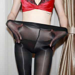 front view of lady wearing black 8 Denier High Gloss Oil Shine Sheer Pantyhose