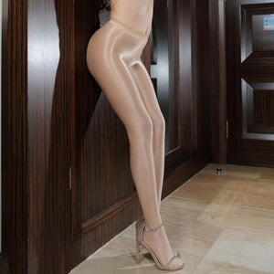 Beige 70 Denier Opaque Oil Shine Glossy Sexy Pantyhose