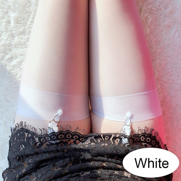 White Ultra Thin Thigh High Stockings