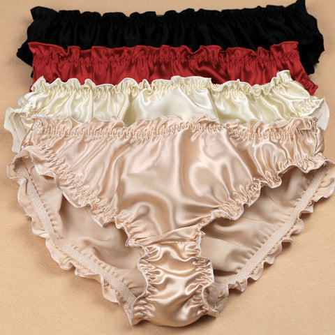 3 Pieces Lot Silk Satin Ruffle Panties