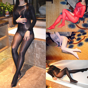 Glossy Oil Shine Sheer Long Sleeve Full Body Stocking