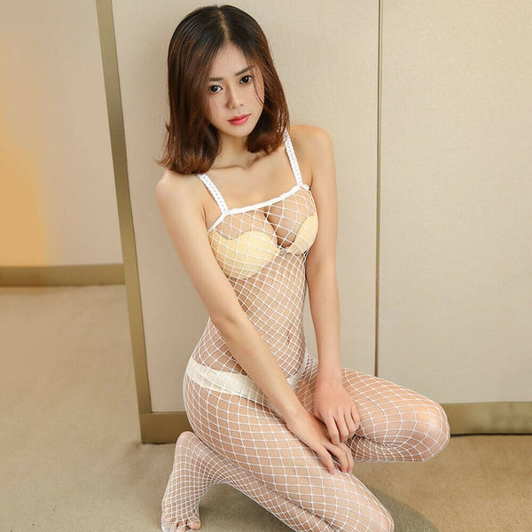White Fishnet Bodystocking
