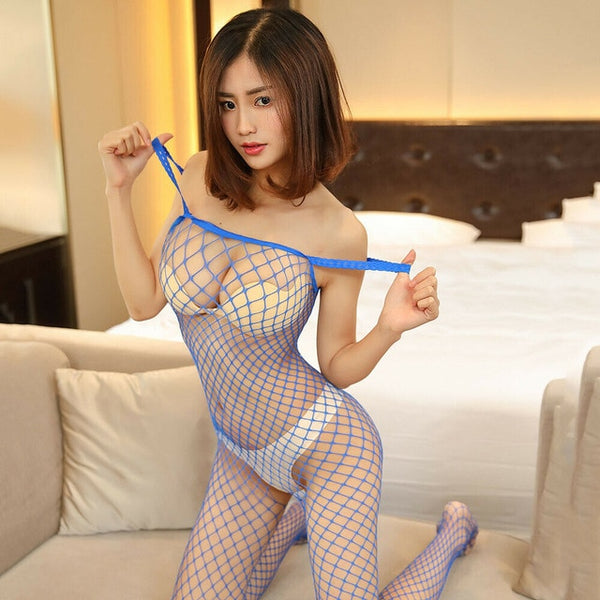 Blue Fishnet Bodystocking