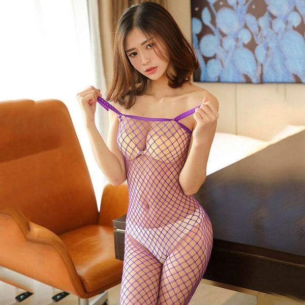 Purple Fishnet Bodystocking