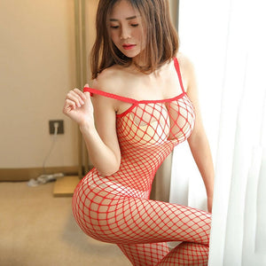 Red Fishnet Bodystocking