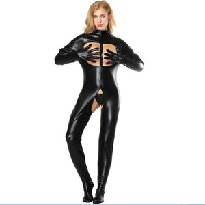 Black Open Bust & Crotch Latex Wet Look Bodysuit