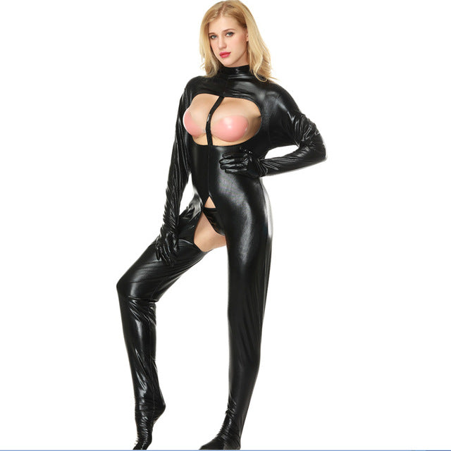 black wet look bodysuit featuring a high neckline, long sleeve with fingers closure, open bust panel, an over the toe style, an open crotch.