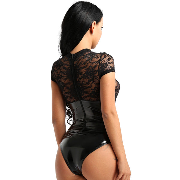 black sexy bodysuit featuring a high neckline, short sleeves, floral lace bust panel, high cut sides and a cheeky cut back.