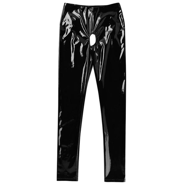 Black Wet Look Kinky Shiny Vinyl Legging featuring an open crotch