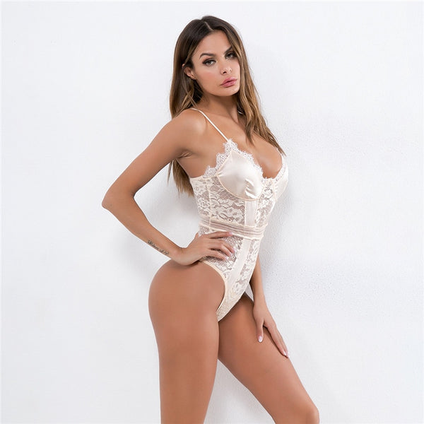 Beige Date Night Satin Lace Bodysuit