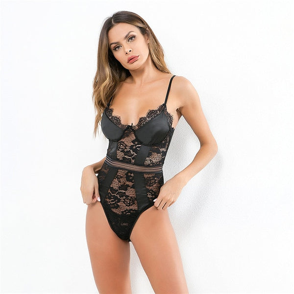 Black Date Night Satin Lace Bodysuit