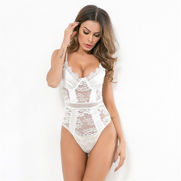 White Date Night Satin Lace Bodysuit
