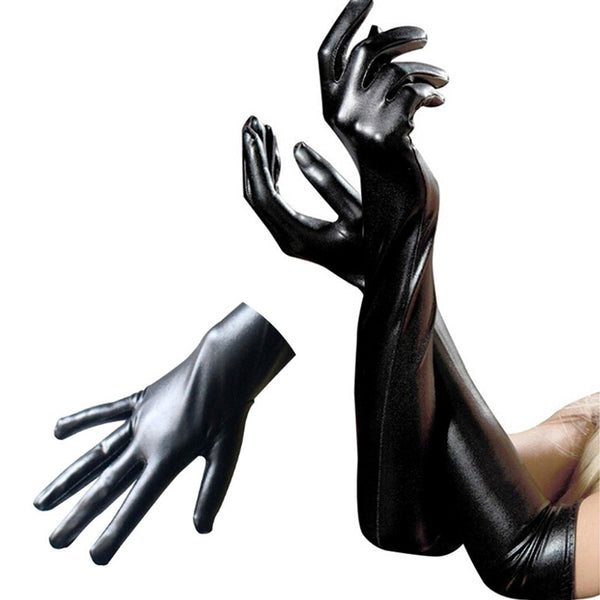 Black Latex Leather Wet Look Above Elbow Gloves