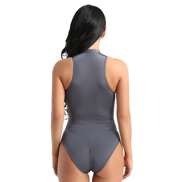 Gray bodysuit featuring a high neckline, front zipper closure, and a cheeky cut back.