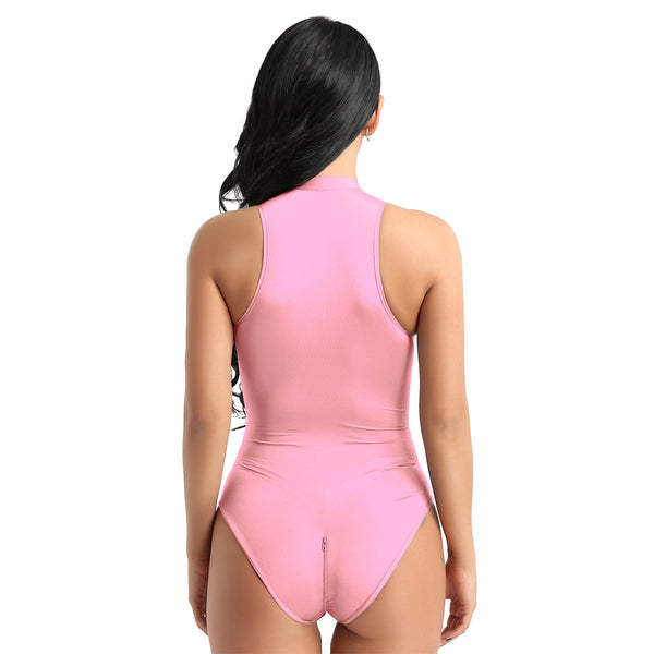 Pink bodysuit featuring a high neckline, front zipper closure, and a cheeky cut back.