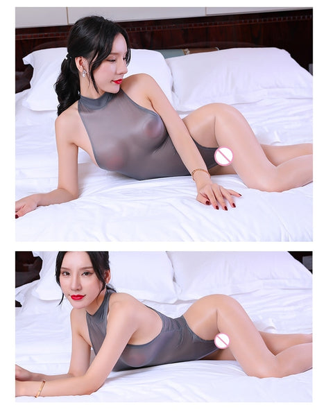 Gray Temptation See Through Silky Smooth Bodysuit