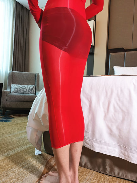 Red Hot 8D Oil Shine Sheer Whole Body Stocking Dress