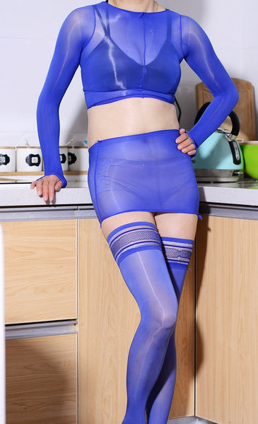 Blue Feel Me Up Sensual Oil Shine Glossy Stocking Top & Skirt Set