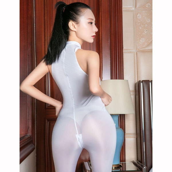 White See Through Sleeveless Zipper Open Crotch Tights Bodysuit