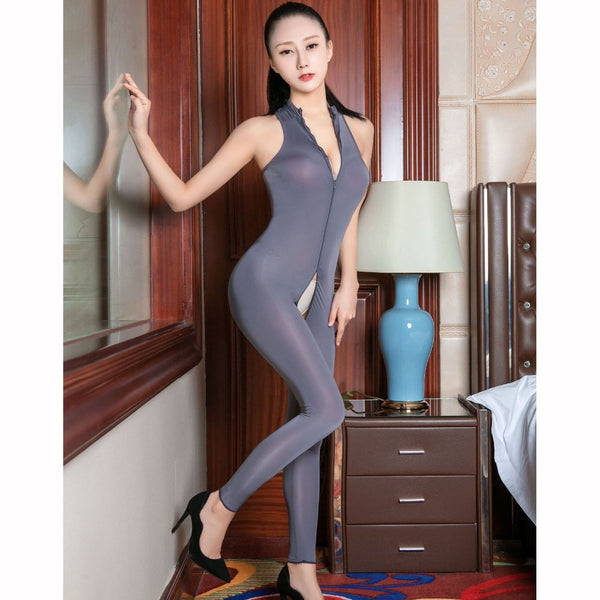 Gray sexy bodysuit featuring a high neckline, plunging zippered neckline, front to crotch zipper closure, ankle length.