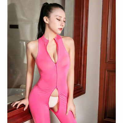 Pink See Through Sleeveless Zipper Open Crotch Tights Bodysuit