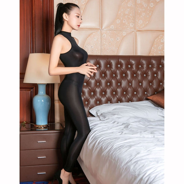 Black sexy bodysuit featuring a high neckline, plunging zippered neckline, front to crotch zipper closure, ankle length.