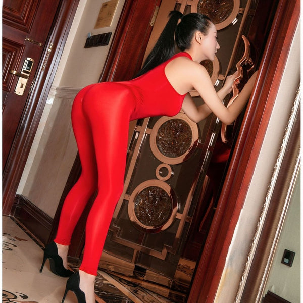 Red See Through Sleeveless Zipper Open Crotch Tights Bodysuit