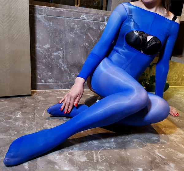Blue Kinky Open Bust Glossy Oil Shine Crotchless Sheer Bodystockings