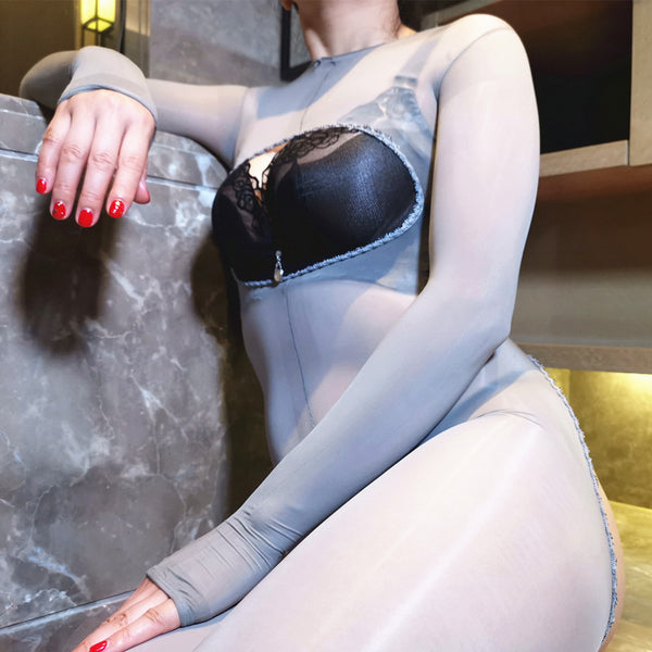 Gray Kinky Open Bust Glossy Oil Shine Crotchless Sheer Bodystockings