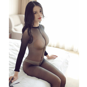 Black Crotchless Sheer See Through Full Bodystocking