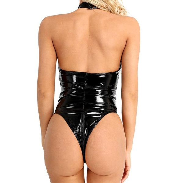 Black wet look bodysuit featuring a high neckline, fishnet bust panel, high cut sides, and a thong cut back.