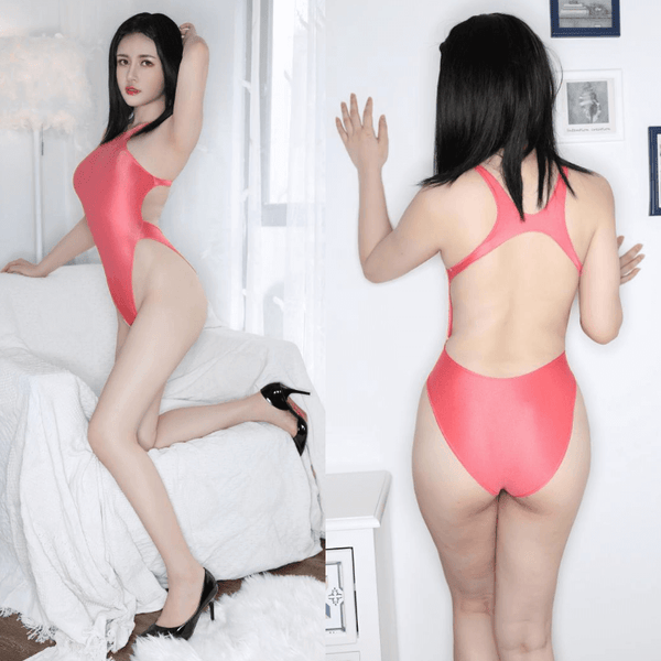 side and back view of lady wearing a pink color wet look bodysuit featuring a high neck, large back keyhole, high cut sides and a cheeky cut back.