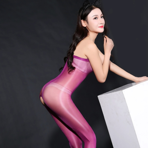side view of lady wearing glossy purple crotchless bodystocking with black high heels